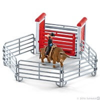 Schleich Bull Riding with Cowboy Toy