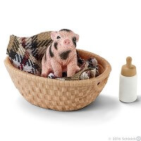 Schleich Mini Pig with Bottle Toy