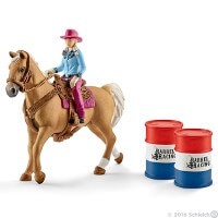 Schleich Barrel Racing with Cowgirl Toy