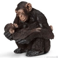 Schleich Chimpanzee Female with Baby Toy