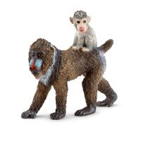 Schleich Mandrill Female with Baby Toy