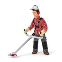 Schleich Worker With Brush Cutter Toy