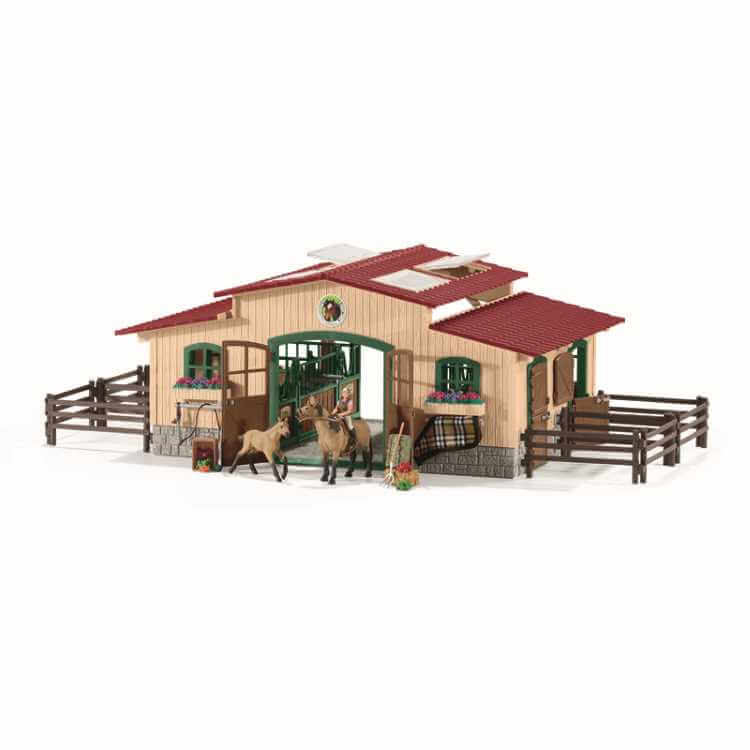 Stable with Horses and Accessories
